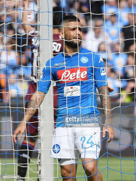 Lorenzo Insigne of SSC Napoli stands disappointed during the serie A match between SSC Napoli and Torino FC at Stadio San Paolo on May 6 2018 in...
