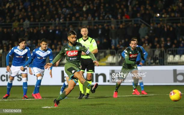 Lorenzo Insigne of SSC Napoli takes a penalty kick to score the opening goal during the Serie A match between Brescia Calcio and SSC Napoli at Stadio...