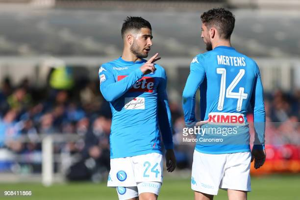Lorenzo Insigne of Ssc Napoli talk to his teammate Dries Mertens during the Serie A football match between Atalanta Bergamasca Calcio and Ssc Napoli...