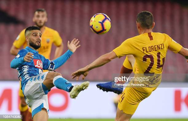 Lorenzo Insigne of SSC Napoli vies with Alessandro Florenzi of AS Roma during the Serie A match between SSC Napoli and AS Roma at Stadio San Paolo on...