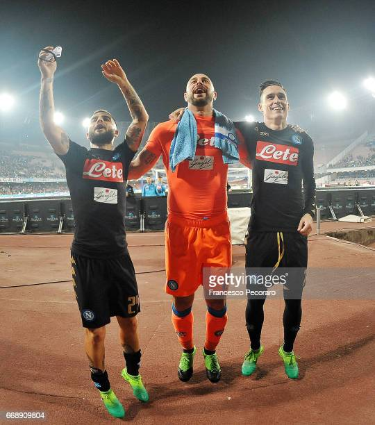Lorenzo Insigne Pepe Reina and Jose Callejon players of SSC Napoli celebrate the victory after the Serie A match between SSC Napoli and Udinese...