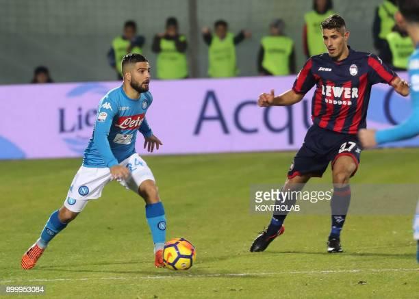 Lorenzo Insigne player of Napoli vs Davide Faraoni of Crotone during the Italian Serie A match FC Crotone SSC Napoli Napoli won 10