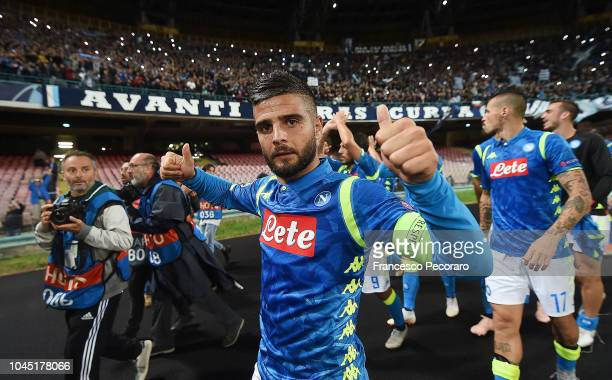 Lorenzo Insigne player of SSC Napoli celebrates the victory after the Group C match of the UEFA Champions League between SSC Napoli and Liverpool at...
