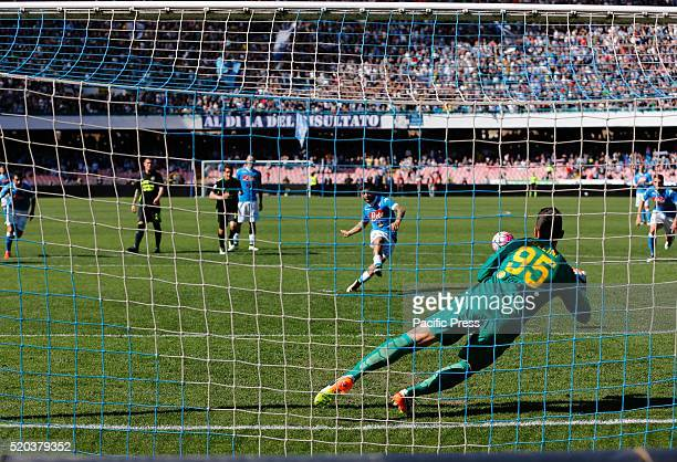 Lorenzo Insigne takes the penalty during the Serie A Match between SSC Napoli and Verona at San Paolo stadium. SSC Napoli win 3 to 0 against Hellas...