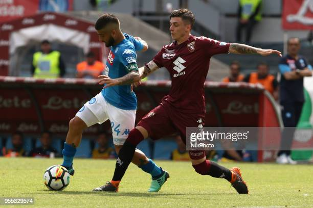 Lorenzo Insigne vies Daniele Baselli during the Italian Serie A football SSC Napoli v Torino FC at S Paolo Stadium in Naples on May 6 2018