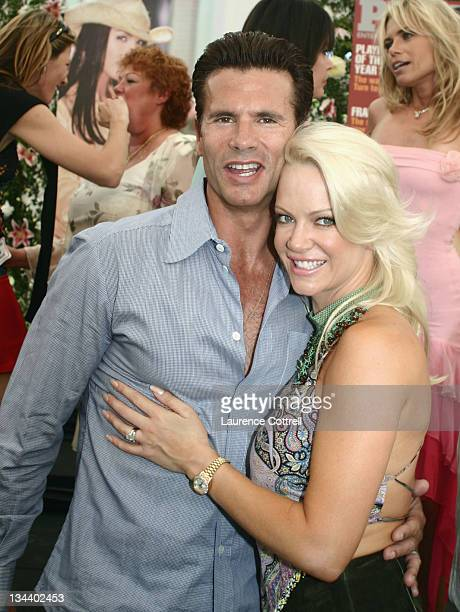 Lorenzo Lamas and Barbara Moore during Playboy's 2004 Playmate of the Year Carmella De Cesare at Playboy Mansion in Bel Air California United States