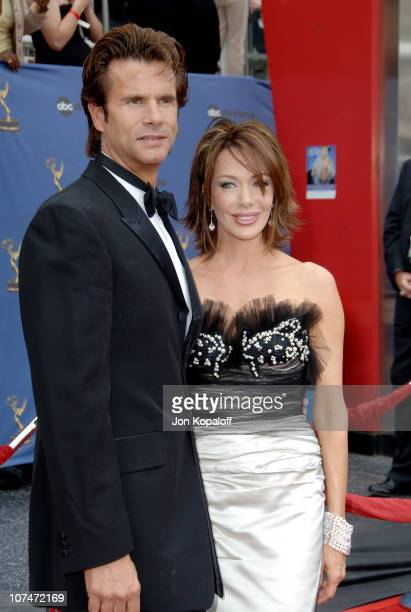 Lorenzo Lamas and Chrishell Stause during 33rd Annual Daytime Emmy Awards Arrivals at Kodak Theater in Hollywood California United States