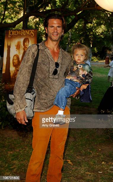 """Lorenzo Lamas and daughter during New Line Home Entertainment and Tree People Celebrate the DVD and VHS Release of """"The Lord Of The Rings: The Two..."""