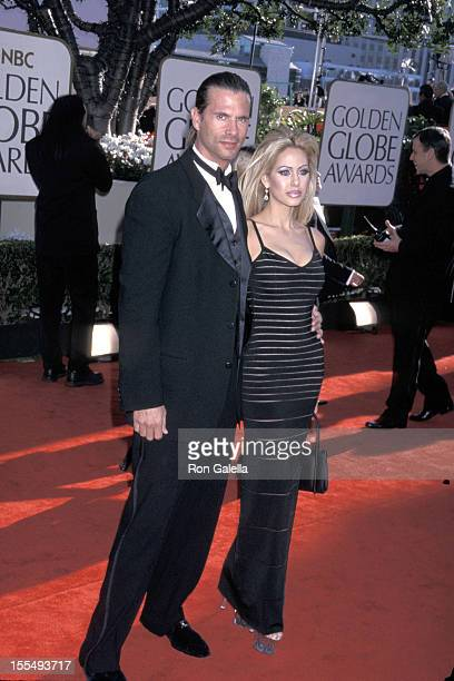 Lorenzo Lamas and Shauna Sands during The 59th Annual Golden Globe Awards Arrivals at The Beverly Hilton in Beverly Hills California United States