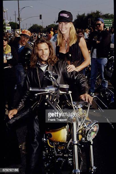 Lorenzo Lamas and wife Kathleen Kinmont also both stars of the syndicated television show 'Renegade' participate in the annual 'Love Ride' of...