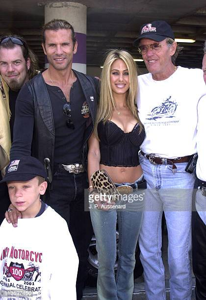 Lorenzo Lamas Shauna Sand Peter Fonda during Indian Motorcycles Centennial Ride at Petersen Automobile Museum in Los Angeles California United States