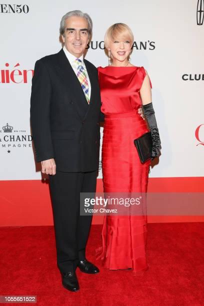 Lorenzo Lazo and Edith Gonzalez attend Quien 50 Los Personajes Que Transforman A Mexico Red Carpet at Teatro Telmex on October 30 2018 in Mexico City...