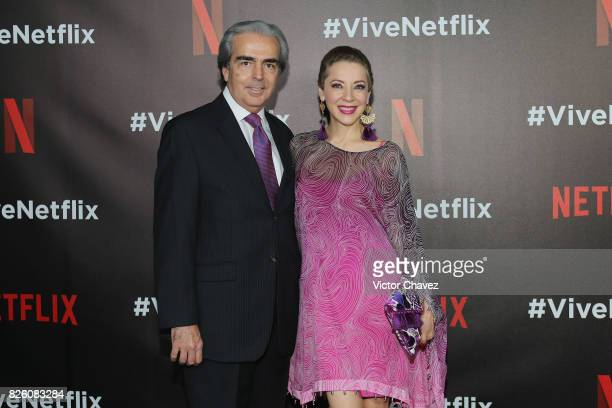 Lorenzo Lazo and Edith Gonzalez attend the Vive Netflix 2017 at Museo Casa de la Bola on August 2 2017 in Mexico City Mexico
