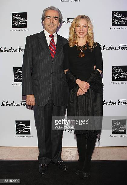 Lorenzo Lazo and his wife actress Edith Gonzalez attend the Salvatore Ferragamo 'Resort 2012' collection launch at Saks Fifth Avenue Plaza Carso on...