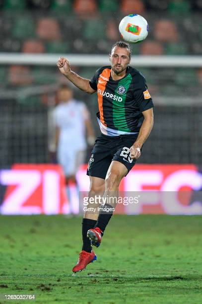 Lorenzo Lollo of Venezia FC heads the ball during the serie B match between Venezia FC and AC Perugia at Stadio Pier Luigi Penzo on July 31, 2020 in...