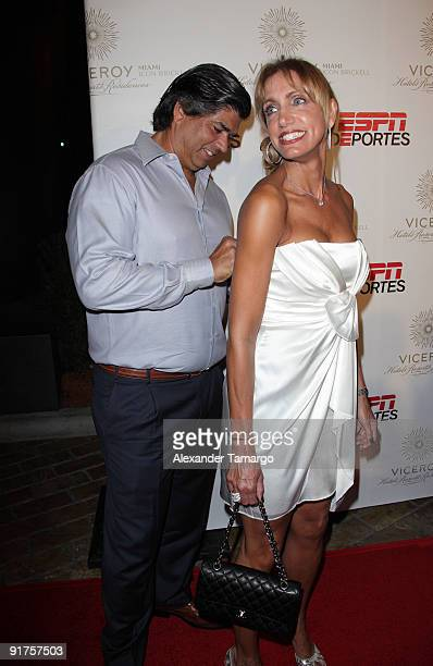 Lorenzo Luaces and Lili Estefan arrive at the ESPN Deportes and Viceroy Miami Party to welcome the Latino owners of the Miami Dolphins event at Club...
