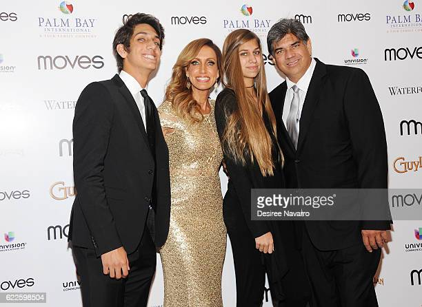 Lorenzo Luaces Jr Lili Estefan Lina Teresa and Lorenzo Luaces attend 2016 New York Moves Awards at India House Club on November 11 2016 in New York...