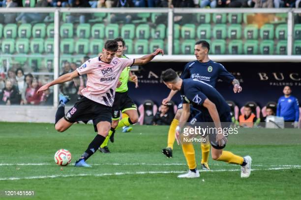 Lorenzo Lucca during the serie D match between SSD Palermo and ASD Biancavilla at Stadio Renzo Barbera on February 16, 2020 in Palermo, Italy.