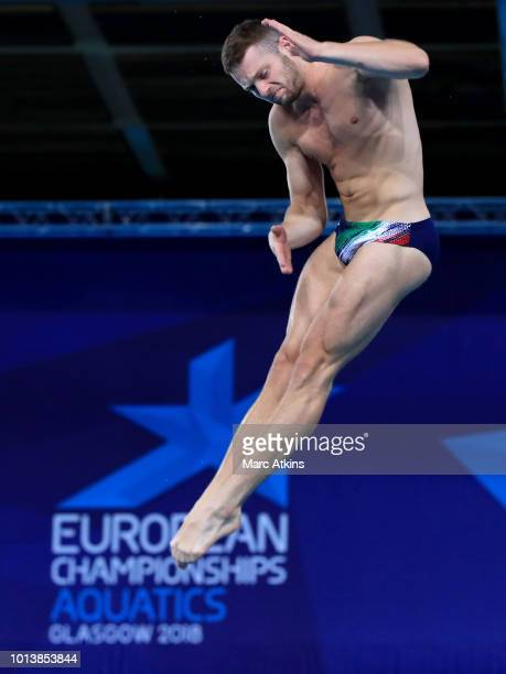 Lorenzo Marsaglia of Italy competes in the Men's 3m Springboard final during the diving on Day eight of the European Championships Glasgow 2018 at...