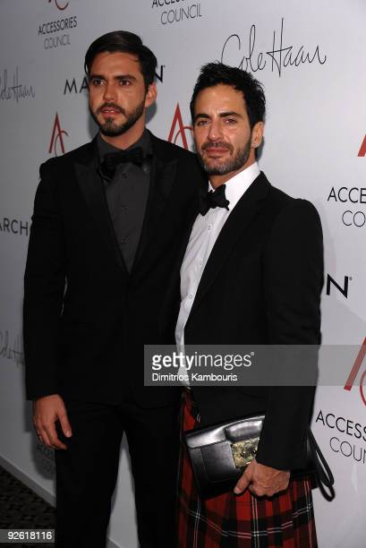Lorenzo Martone and designer Marc Jacobs attend the 13th Annual 2009 ACE Awards presented by the Accessories Council at Cipriani 42nd Street on...