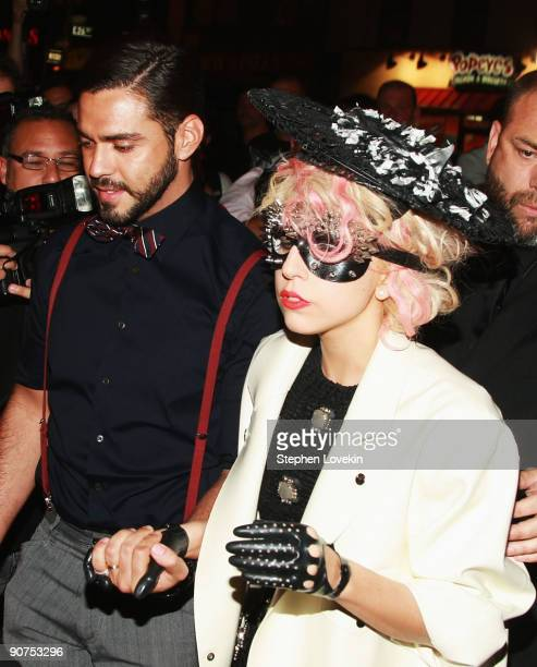 Lorenzo Martone and singer Lady Gaga attend Marc Jacobs Spring 2010 fashion show at The Armory on September 14 2009 in New York New York