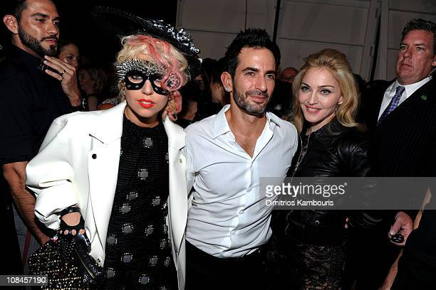 Lorenzo Martone singer Lady Gaga designer Marc Jacobs and Madonna attend the Marc Jacobs 2010 Spring Fashion Show at the NY State Armory on September...