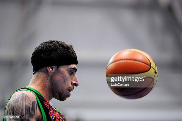 Lorenzo Mata of Mexico during a basketball semifinal match against USA as part of the XVI Pan American Games at CODE Dome on October 29 2011 in...