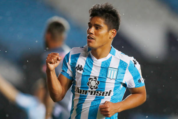 Lorenzo Melgarejo of Racing Club celebrates the first goal of his team during a Group F match of Copa CONMEBOL Libertadores 2020 between Racing Club...