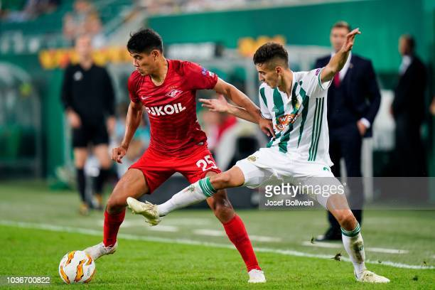 Lorenzo Melgarejo of Spartak Moscow and Mert Muelduer of Rapid during the UEFA Europa League match between SK Rapid Wien v Spartak Moscow at Allianz...