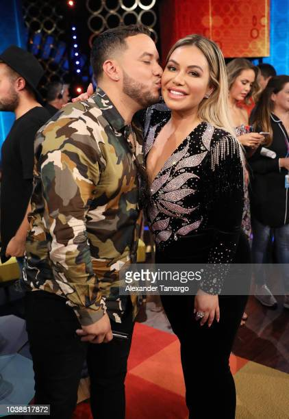 "Lorenzo Mendez and Chiquis Rivera are seen on the set of ""Don Francisco Te Invita"" at Cisneros Studios on September 20, 2018 in Miami, Florida."