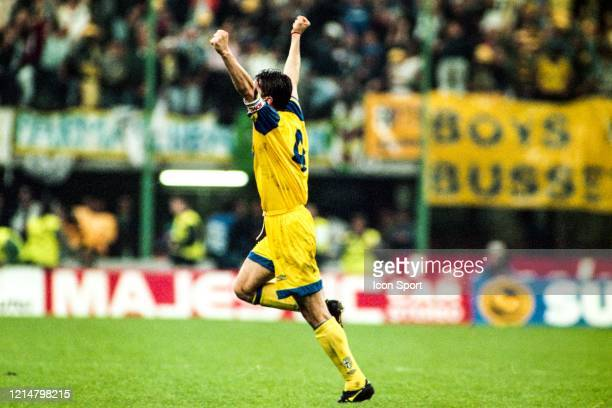 Lorenzo MINOTTI of Parma celebrate the victory during the UEFA Cup Final second leg match between Juventus Turin and Parma at Stadium San Siro Milan...