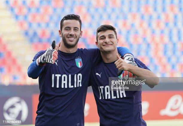 Lorenzo Montipò and Riccardo Orsolini of Italy pose for a photo during a Italy training session at Stadio Renato Dall'Ara on June 15 2019 in Bologna...