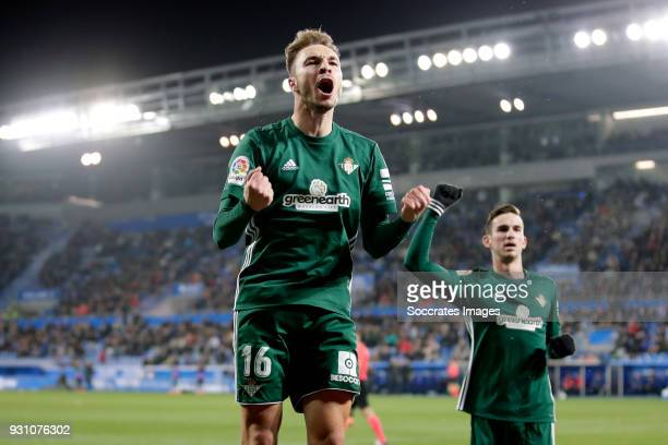 Lorenzo Moron Garcia of Real Betis celebrates 13 during the La Liga Santander match between Deportivo Alaves v Real Betis Sevilla at the Estadio de...
