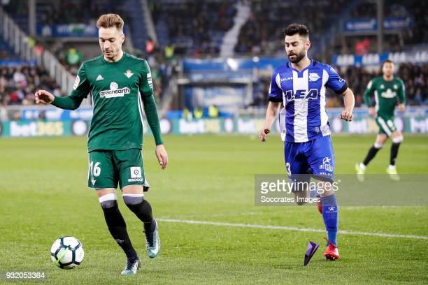 Lorenzo Moron Garcia of Real Betis Ruben Duarte of Deportivo Alaves during the La Liga Santander match between Deportivo Alaves v Real Betis Sevilla...