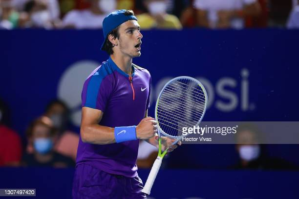 Lorenzo Musetti of Italy celebrates during the Men's singles match between Diego Schwartzman of Argentina and Lorenzo Musetti of Italy as part of the...