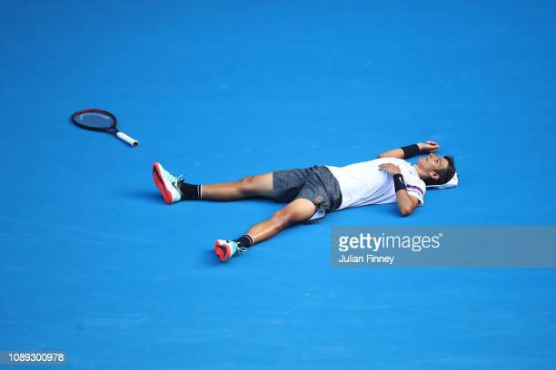 Lorenzo Musetti of Italy celebrates winning championship point in his junior boys singles final against Emilio Nava of the United States during day...