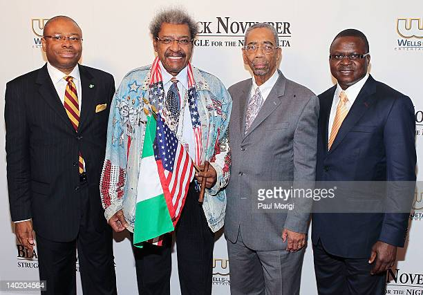 Lorenzo OmoAligbe Don King Rep Bobby Rush and Timi Alaibe attend the 'Black November' film screening at The Library of Congress on February 29 2012...