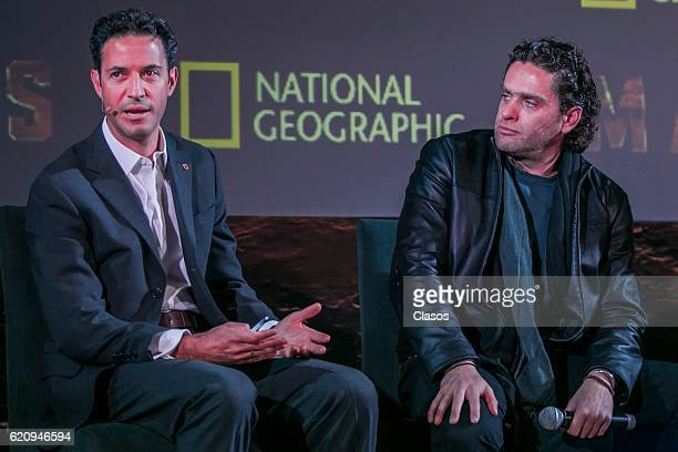 Lorenzo Orozco and Everardo Gout talk during a press conference to present the new National Geographic's series 'MARS' at Espacio Virreyes on...