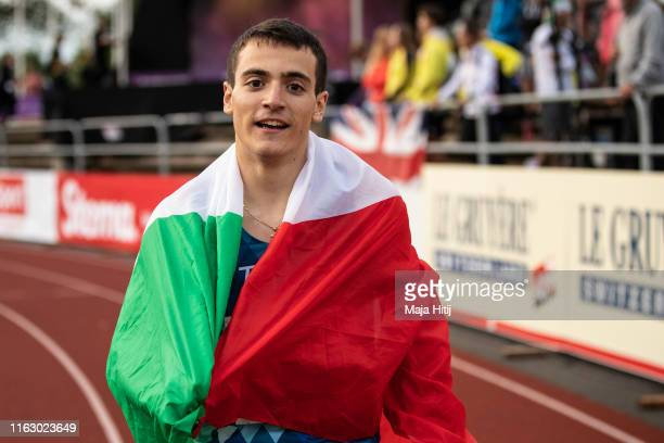 Lorenzo Paissan of Italy reacts after winning 100m Men Final on July 19, 2019 in Boras, Sweden.