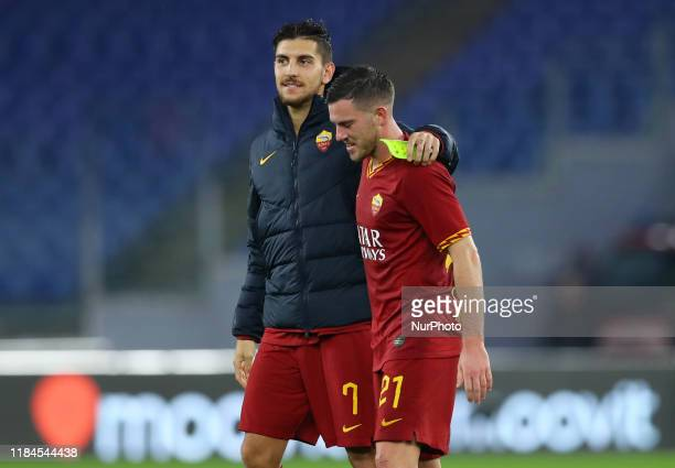 Lorenzo Pellegrini and Jordan Veretout of Roma during the Serie A match AS Roma v Brescia Fc at the Olimpico Stadium in Rome Italy on November 24 2019