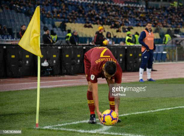 Lorenzo Pellegrini during the Italian Cup football match between AS Roma and Virtus Entella at the Olympic Stadium in Rome on January 14 2019