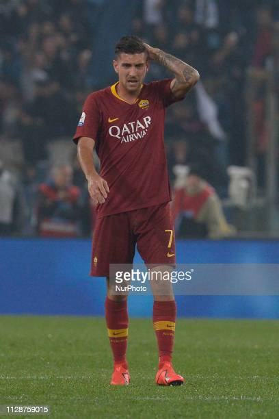 Lorenzo Pellegrini during the Italian Serie A football match between SS Lazio and AS Roma at the Olympic Stadium in Rome on march 02 2019