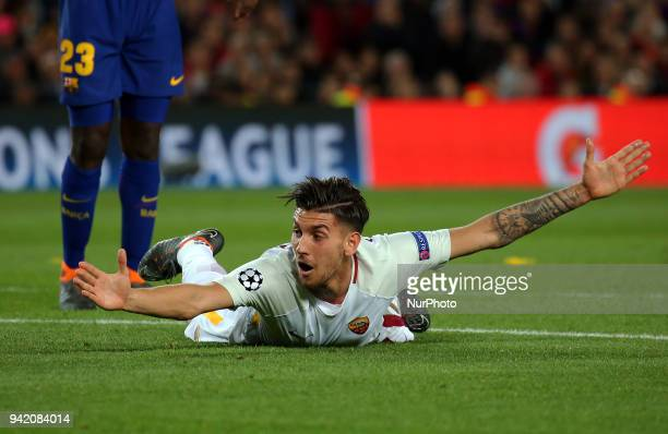Lorenzo Pellegrini during the match between FC Barcelona and AS Roma for the first leg of the 1/4 final of the UEFA Champions League played at the...