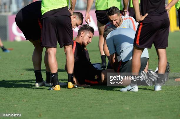 Lorenzo Pellegrini injured during training session open to the fans of AS Roma preseason retreat at Stadio Tre Fontane on july 19 2018 in Rome Italy