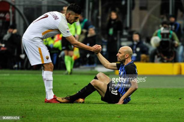 Lorenzo Pellegrini of AS Roma and Borja Valerio Igesias of FC Inter during Serie A football FC Inter versus AS Roma FC inter and AS Roma finish the...