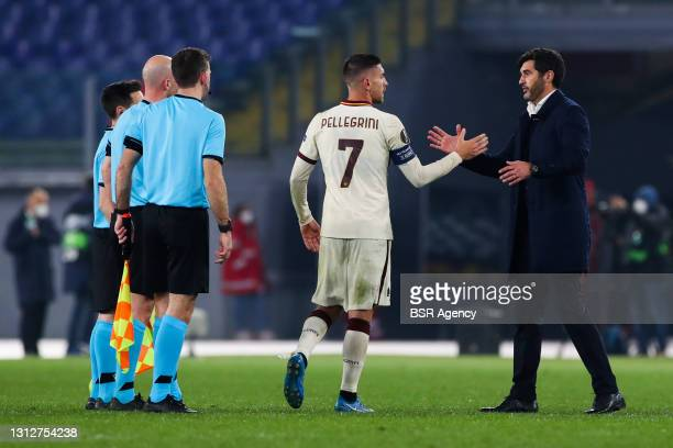 Lorenzo Pellegrini of AS Roma and coach Paulo Fonseca of AS Roma during the UEFA Europa League Quarter Final: Leg Two match between AS Roma and Ajax...