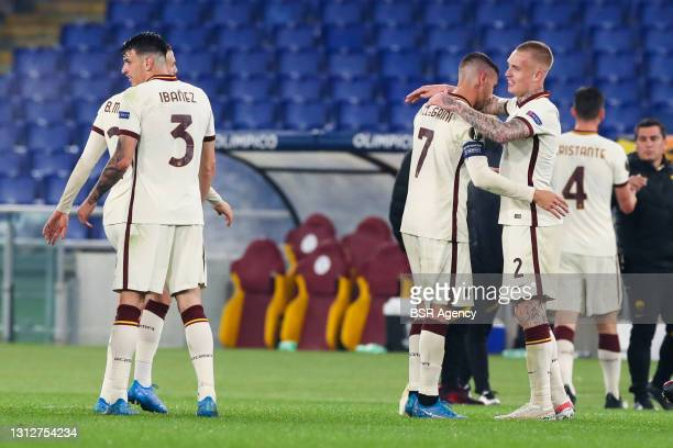 Lorenzo Pellegrini of AS Roma and Rick Karsdorp of AS Roma during the UEFA Europa League Quarter Final: Leg Two match between AS Roma and Ajax at...
