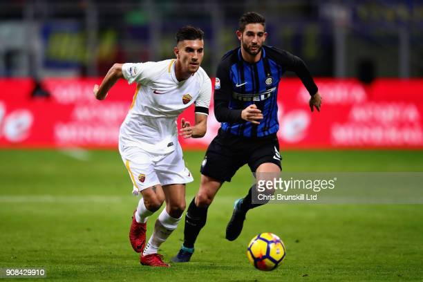 Lorenzo Pellegrini of AS Roma and Roberto Gagliardini of FC Internazionale in action during the Serie A match between FC Internazionale and AS Roma...