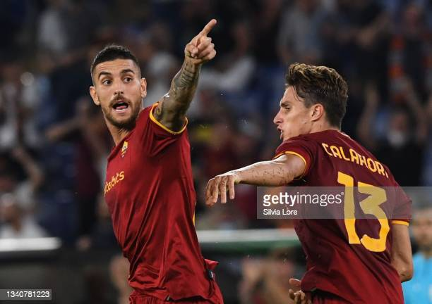Lorenzo Pellegrini of AS Roma celebrates after scoring goal 1-1 during the UEFA Europa Conference League group C match between AS Roma and CSKA Sofia...