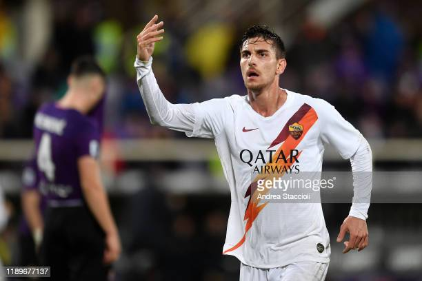 Lorenzo Pellegrini of AS Roma celebrates after scoring the goal of 13 during the Serie A football match between ACF Fiorentina and AS Roma AS Roma...